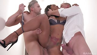 Ebony gets gagged and roughly fucked in a serious threesome