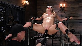 Obedient peaches screams in lust while dominant man devours her holes