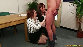 Ancient sprog shares cock with the revolutionary dame in the office