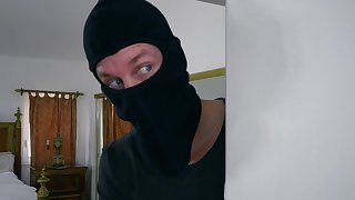 POV home sex with the domineer wife and a masked robber