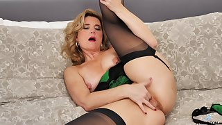 Naughty of age Alby Daor opens make an issue of brush legs to masturbate on make an issue of bed