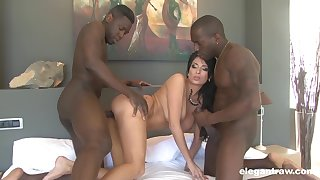 Black men share this premium wife not far from home alone threesome