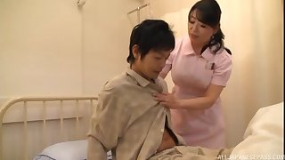 Asian dolour drops her panties to ride a patient's stiff dig up
