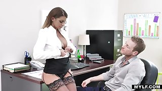Sexy busty secretary in nylon undies Brooklyn Chase dreams of riding unafraid cock