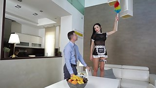 Dude with a large dick fucks stunning maid Sasha In top form in niggardly butt