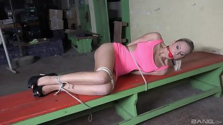 Gagged flaxen-haired fro fucked in submissive maledom