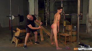 Twink endures monumental cock from grandpa in gay BDSM