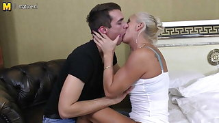 Skinny old granny fucking and sucking young boy