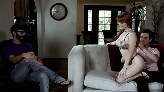 Cuckold hubby watches the way redhead Penny Pax fucks doggy before his eyes