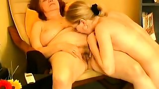 An old granny fucked by a young bull dyke