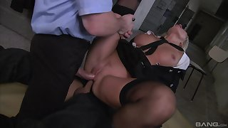 Milf gets double fucked off out of one's mind four masked men with huge dicks