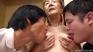 Threesome with adult Asano Taeko is a fantasy of those horny dudes