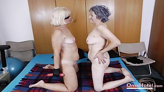 BBW old grannies show his big boobs and hairy pussies