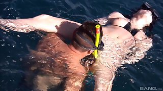 Stunning underwater scuba coition for dirty MILF Sabine Mallory