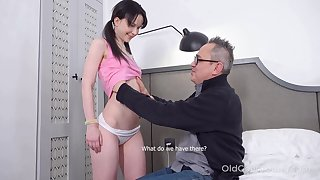 Kinky pigtailed subfuscous Sweetie Plu is fucked by older guy doggy