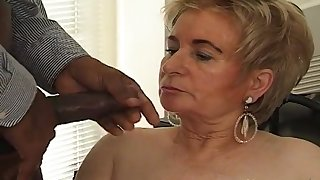 Black boss fucks blonde old Miss Lonelyhearts on the table