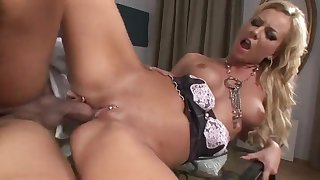 Skinny maid Angelina Love grinds dong with pierced cunt